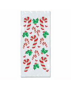 """Beistle Candy Cane & Holly Gift Cello 9"""" x 4"""" Cello Bags, Clear, 25 Pack"""