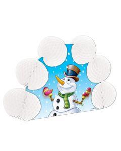 """Snowman Popover 3D Christmas Decoration 10"""" Table Centerpiece, White Blue"""