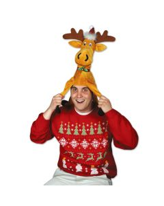 """Beistle Christmas Funny Moose Plush One Size 13"""" Party Hat, Brown"""