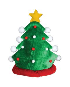 """Beistle Holiday Christmas Tree Plush One Size 15"""" Party Hat, Green"""