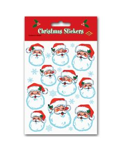 "Christmas Stocking Stuffer Santa Claus Face 4pc 4.5"" Sticker Sheets, White Red"