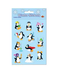"Beistle Penguin Winter Pack of 4 Sticker Sheet 9pc 4.75"" x 7.5"" Stocking Stuffer"