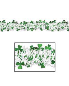 Beistle Metallic Saint Patrick's Day Shamrock 12' Tinsel Garland, Green White