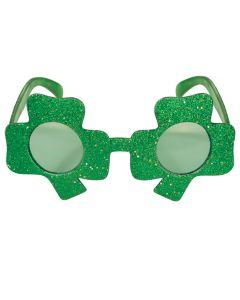 Glittered Shamrock Fanci-Frames St Patrick's Day Party Wear Glasses, Green