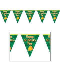 Happy St. Patrick's Day 12' Pennant Banner Party Decoration, All Weather, Green