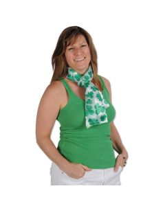 "Beistle Festive St Patricks Day Shamrock Scarf, Green White, 10"" x 4' 7"""