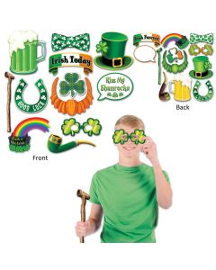 "Beistle Saint Patrick's Day 12pc Fun Photo Booth Sign Props,6.25""-13.5"""