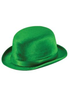 Beistle Deluxe Velour Derby Hat St Patrick's Day Party Wear, Green