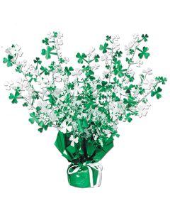 """15"""" Shamrock Gleam 'N Burst Centerpiece St Patrick's Day Decor, Green White"""