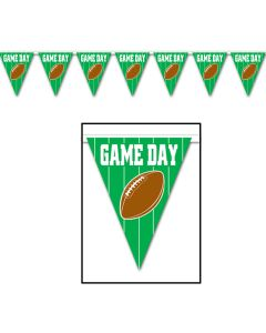 Beistle Super Bowl Football Game Day Pennant 12' Banner, Green Brown