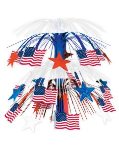 "Patriotic US American Flag & Stars 18"" Cascading Centerpiece, Red White Blue"