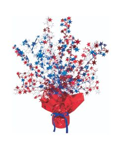 """Beistle Patriotic Star Gleam N' Burst 15"""" Table Centerpiece, Red White Blue"""