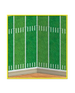 "Beistle Football Field Decoration Backdrop 4' x 30"" Wall Cover, Green White"