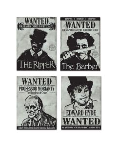 "Beistle Famous Horror Criminals Wanted Sign Cutouts 4pc 15.25"" Cutouts"