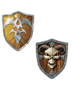 "Beistle Viking Hero Shield Cutouts  19"" Printed 2 Sides, Brown Gold"