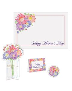 """Beistle Mother's Day Place Setting Watercolor Flowers 4pc 15"""" Table Decoration"""