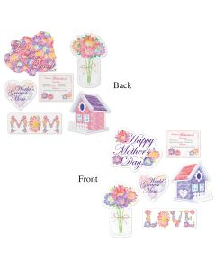 """Beistle Mother's Day Flower Watercolor Style 6pc 8.75""""-14.75"""" Cutouts"""