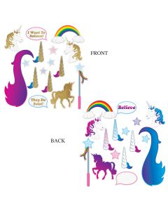"""Unicorn Glitter Photo Fun Signs Double Sided 16pc 3""""-19"""" Cutouts, 12 Packs"""