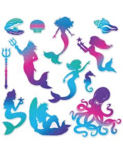 "Beistle Glittery Mermaid 2-Sided 3.25""-11.25"" Cutouts, Blue Purple Teal, 12 Pack"