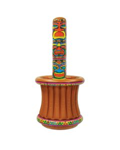 "24 Can Holder Luau Tiki Totem 5'2""H Inflatable Drink Cooler, Brown Rainbow"