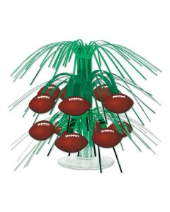 "Beistle Mini Football Table Decoration 7 1/2"" Cascading Centerpiece, Green Brown"