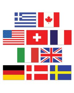 "Beistle Festive Mini International Flag Olympics 10pc 4"" Cutouts"