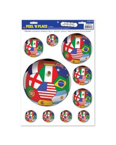 """FIFA World Cup 2014 Soccer International Flags Peel 'N Place 12"""" x 17"""" Decals"""