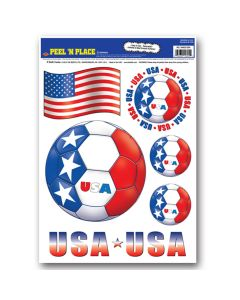 """Beistle FIFA World Cup 2014 Soccer United States Peel 'N Place 12"""" x 17"""" Decals"""