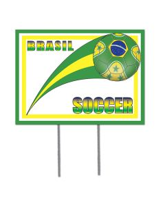 "FIFA World Cup 2014 Soccer Brazil Plastic 12"" x 16"" Yard Sign, Green Yellow Blue"