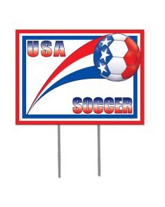 "FIFA World Cup 2014 Soccer United States Plastic Board 12"" x 16"" Yard Sign, Red White Blue"