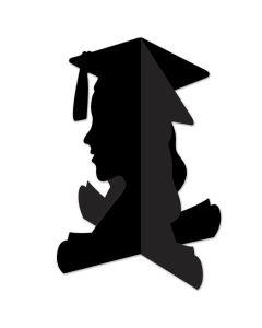 """Beistle 3D Girl Graduate Silhouette 10.75"""" Table Centerpiece, Black"""