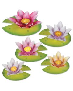 "Beistle Water Lily Paper Flowers Cutouts 10.75"" Printed 2 Sides"