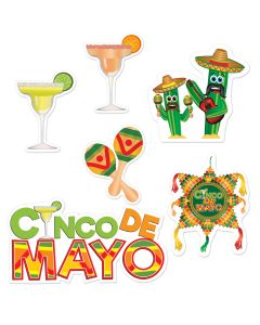 "Beistle Mexican Cinco De Mayo Celebration Assorted 6pc 9""-21.5"" Cutouts"
