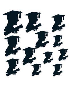"""Beistle Boy Graduation Party Decoration Silhouettes 12pc 6""""-12"""" Cutouts, Black"""