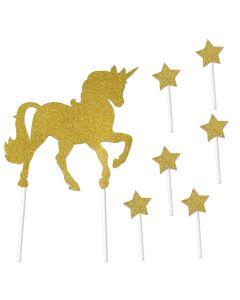 "Sparkle Unicorn & Stars 7pc 10.75"" Cake Topper Set, Gold, 12 Kits"