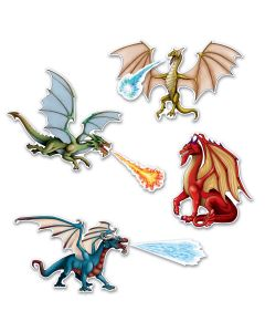 "Beistle Dragon Cutouts 7pc 8.5""-10.5"" Hanging Decorations"