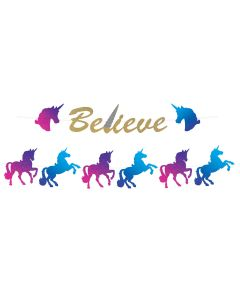 Sparkle Glitter Unicorn Birthday Party 16pc Streamer Set, 12' Decoration Banner
