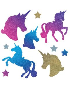 "Beistle Unicorn and Stars Gradient Color Birthday 10pc 2.25-13.25"" Cutouts"