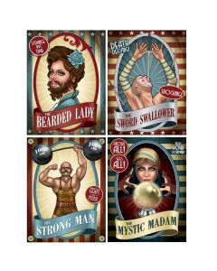 "Beistle Vintage Circus Poster Cutouts 15.25"" Wall Decoration, 4 Pack"