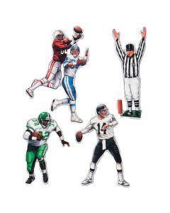 "Beistle Football Figure Double Side 4pc 17""-22"" Cutouts, White Red Blue"