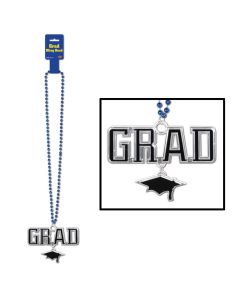 "Beistle Graduation School Color Grad Cap Medallion 36"" Beads Necklace, Blue"