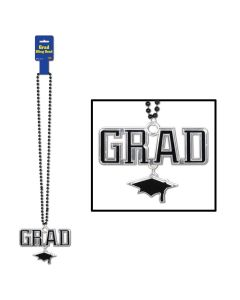 "Beistle Graduation School Color Grad Cap Medallion 36"" Beads Necklace, Black"