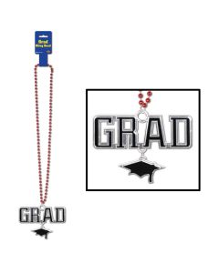 "Beistle Graduation School Color Grad Cap Medallion 36"" Beads Necklace, Red"