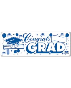 Beistle Graduation Congrats Grad Vinyl Party Banner 5' Sign, Blue White