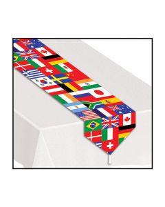 Printed International Flag Table Decoration 6' Table Runner, 12 Pack