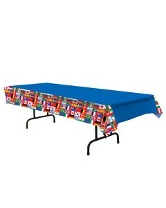"Beistle Festive International Flag Collage Olympics 108"" Plastic Tablecover"