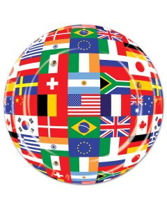 Beistle Olympics Colorful International Flags 7in Dessert Plates, 8 Pack