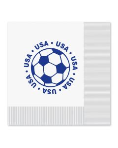 "Beistle World Cup Soccer United States 13"" Lunch Napkins, White Red Blue, 16 Pack"