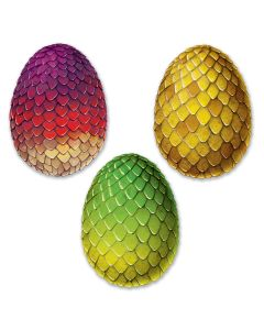 "Beistle Giant Scale Colored Dragon Egg Cutouts 3pc 17"" Wall Decoration"