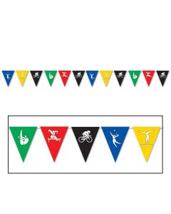 Beistle Festive Summer Sports Olympics Multicolored 12' Pennant Banner